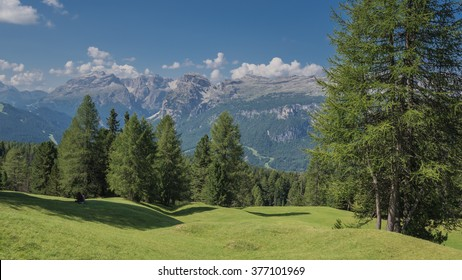 Dolomite mountains; Marmolada massif, Vernel peak, Sella mountain group, Sassongher peak, Gherdenacia mountain plateau  & Sass Putia peak as seen from meadows beneath Sasso di Santa Croce mountain