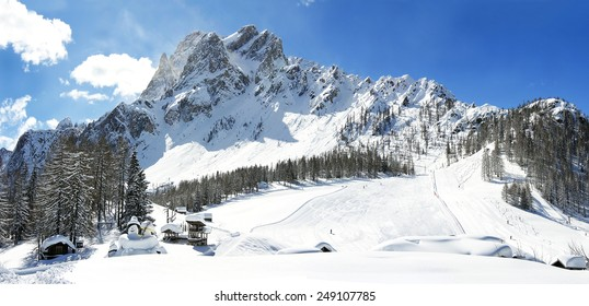Dolomite mountains, Massif Croda Rossa di Sesto (German: Sextener Rotwand) or Zehner. It is a mountain in the Sexten Dolomites in South Tyrol, Alto Adige, Italy - UNESCO World Heritage
