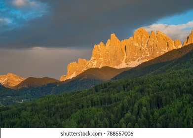 Dolomite mountains in sunset light, in the South Tyrol region of Italy