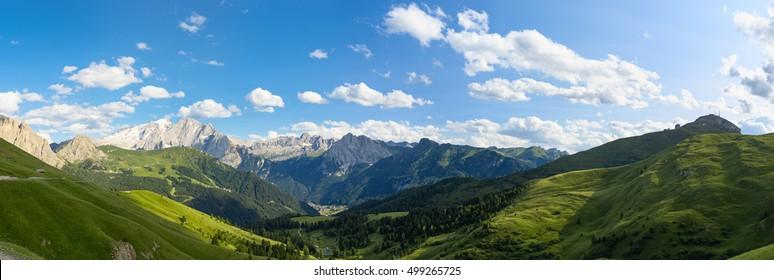 Dolomites alps, amazing panoramic landscape at Italian South Tyrol.