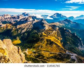 Dolomites beautiful scenery (Monte Pelmo, Averau, Civetta)