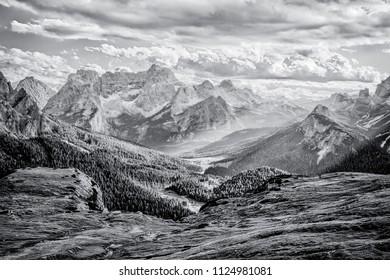 Dolomites, black and white landscape
