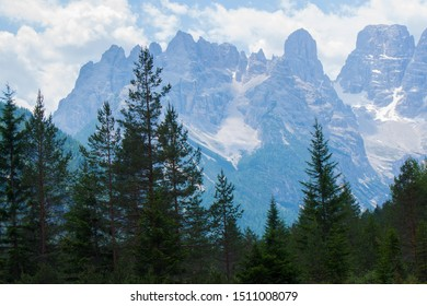 Dolomites Italien Mountaun and green forest and blue sky