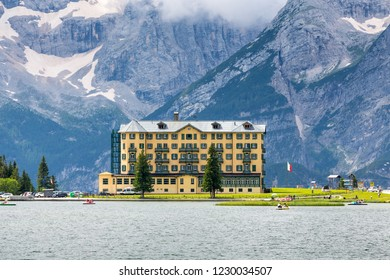 DOLOMITES, ITALY - AUGUST 2, 2014: Lago di Misurina and the Pio XII Institute, Dolomites, Italy