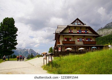 DOLOMITES, ITALY - JUL 29, 2018 - Mountain hut serves hikers and bikers in the Dolomites Alps, Italy