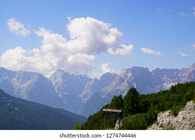 DOLOMITES, ITALY - JUL 31, 2018 - Jagged mountain and deep valley of the Monte piana area in the  Dolomites Alps, Italy