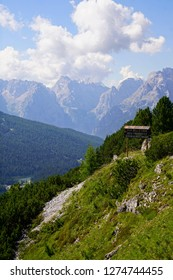 DOLOMITES, ITALY - JUL 31, 2018 - Jagged mountain and deep valley of the Monte piana area the  Dolomites Alps, Italy