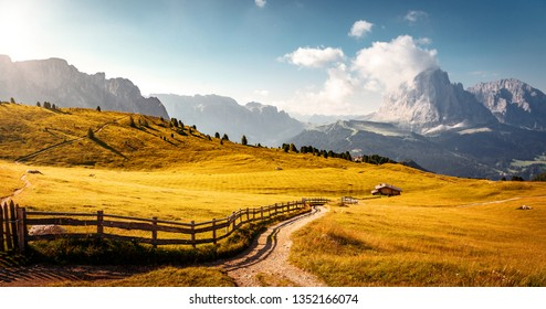 Dolomites, Italy Landscape at Passo Gardena with majestic Sella mountain group in northwestern Dolomites. Famous travel destination for adventure, trekking, hiking and outdoor activity.