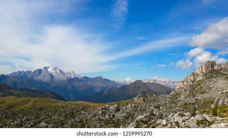 Dolomites Italy. Marmolada massif. Beautiful view over the Marmolada glacier. Alps Mountain landscape.