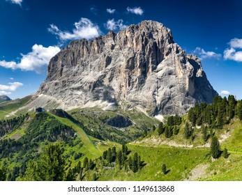 DOLOMITES - JULY 17, 2018: Mountain peaks view, Dolomites landscape, JULY 17, 2018 in Dolomites, Italy