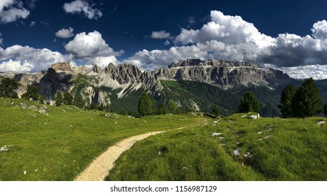 DOLOMITES - JULY 17, 2018: Mountain peaks view, Dolomites landscape