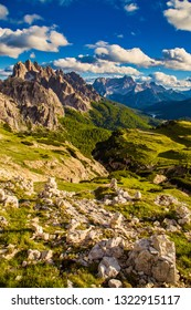 Dolomites mountain landscape view from Tre cimes Lavaredo loop trail, South troy, Italy