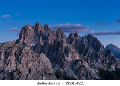 Dolomites mountain landscape view from Tre cimes Lavaredo loop trail at night, South Tyrol, Italy
