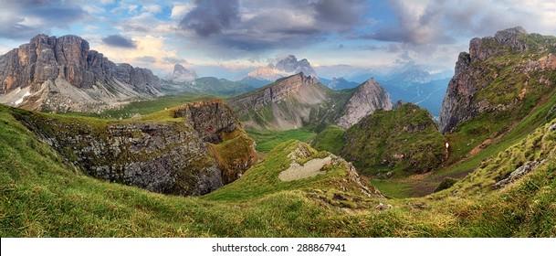 Dolomites mountain panorama at spring
