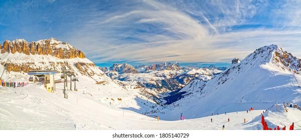 Dolomites mountains, Sella Ronda panorama ski circuit around the Sella group in Northern Italy, Trentino / Alto Adige / Belluno, Italy, Arabba region
