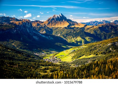 Dolomites, Passo Sella. Beautiful view of Canazei from Passo Sella. Dolomites, Italy.