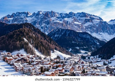 Dolomites, Sella group with at the feet the village of Selva di Val Gardena, province of Bolzano, Trentino Alto Adige, Italy, Europe