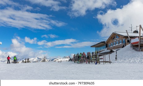 Dolomites, ski area with beautiful slopes. Empty ski slope in winter on a sunny day. Prepare ski slope. Alpe Cermis, Italy