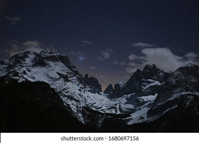 The Dolomites under the stars. Sirius the brightest star.