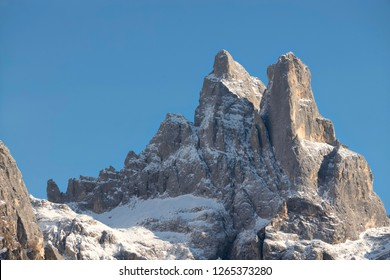 Dolomiti peak on blue sky