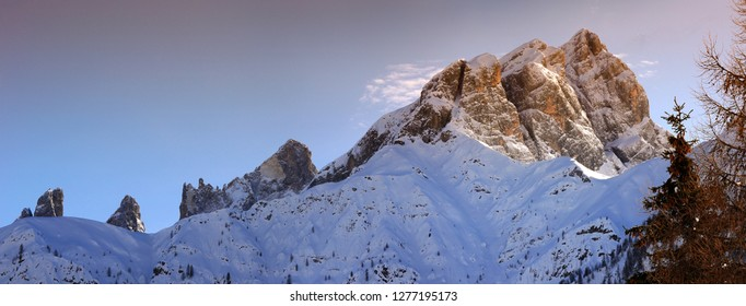 Dolomitic group of Pale di San Martino as seen from Passo Valles on the Italian Alps. The Pale di San Martino Group is the southernmost of the big Dolomite Groups. Trento, Italy