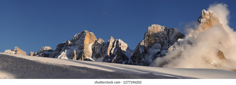 Dolomitic group of Pale di San Martino as seen from Passo Rolle on the Italian Alps. The Pale di San Martino Group is the southernmost of the big Dolomite Groups. Trento, Italy