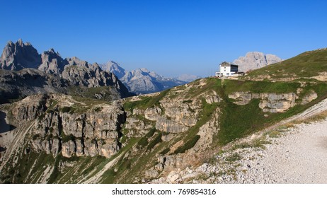 dolomitic panorama. In the background the Auronzo refuge, at the foot of the three peaks of Lavaredo