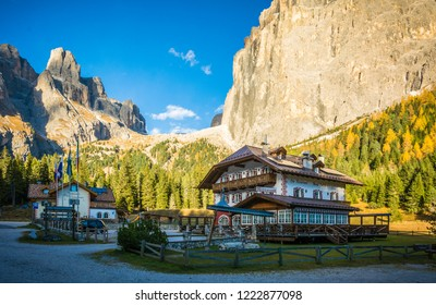 DOLOMTI, Italy - october 24, 2018: Refuge Monti Pallidi. The refuge was built before construction of the great Dolomites road, at the foot of Piz Ciavazes and Sass Pordoi at Pian Schiavaneis