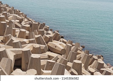 Dolos tetrapods coast defence sea in Kuwait