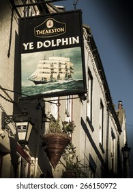 the Dolphin pub sign,Robin Hoods Bay, Yorkshire,Britain. taken 15/12/2014