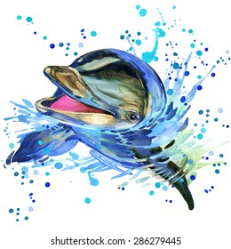 dolphin T-shirt graphics, dolphin illustration with splash watercolor textured background. illustration watercolor dolphin fashion print, poster for textiles, fashion design