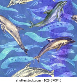 Dolphins variety: common bottlenose, Short-beaked, Atlantic Spotted and Risso's,  hand painted watercolor illustration, seamless pattern on blue, purple ocean surface with waves background