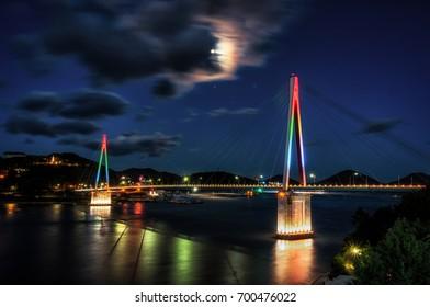 Dolsan Bridge taken at night with the brige lit up. Taken in Yeosu, South Korea