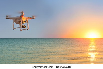 Dolzhanskaya. Russia: 02.05.2018, Image of the Dji Inspire 1 drone UAV quadcopter which shoots 4k video and 12mp still images and is controlled by wireless remote with a range of 4km