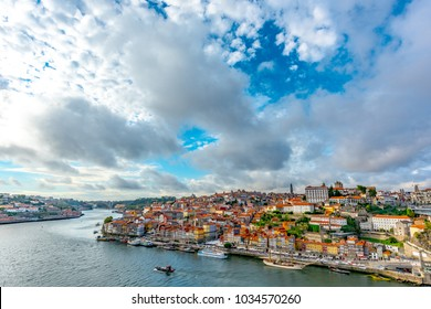 Dom Luis Bridge and old city in Porto, Portugal, Europe