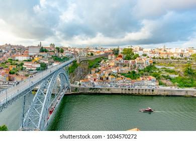 Dom Luis Bridge and old city in Porto, Portugal, Europe