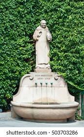 DOM PERIGNON 1638 - 1715 statue, Wachenheim Wachtenburg vineyard, Palatinate region, Deutsche Weinstrasse (German Wine Route), Rhineland-Palatinate, Germany