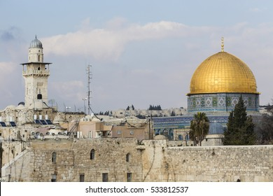 Dom of the Rock, Western Wall and old city, Jerusalem, Israel