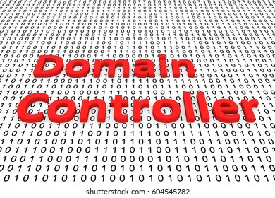 domain controller as a binary code 3D illustration