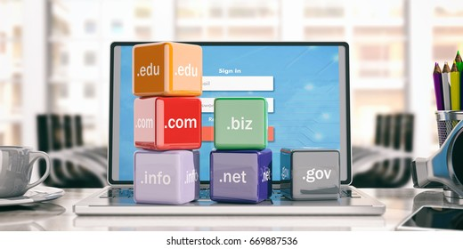 Domain names cubes on a laptop - office background. 3d illustration