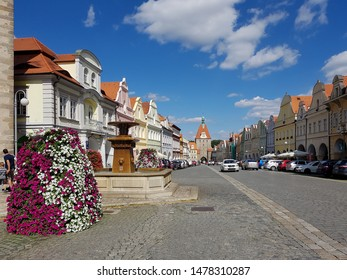 Domazlice, Czech republic - August 07, 2019: Domazlice - Peace Square with Tower, in sunny day, Czech Republic, chodsko. Historic town.