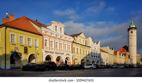 Domazlice, Czech republic - December 27, 2017: Domazlice - Peace Square with Tower, in sunny day, Czech Republic, chodsko. Historic town.