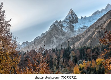 Dombai - a mountainous area in Karachay-Cherkessia in the Kuban basin in the North Caucasus Russia