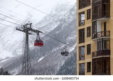 DOMBAI, RUSSIAN FEDERATION - JANUARY 1, 2020: Cable car in Dombai ski resort