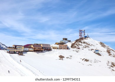 DOMBAY, RUSSIA - May 03.2015: Little tourist accessories market and cafe on the first level of getting up on the mountain Mussa-Achitara