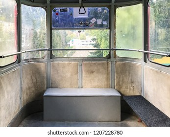 DOMBAY, RUSSIA - SEPTEMBER 22, 2018: interior of aerial tramway in Dombay resort in Teberda Nature Reserve in Caucasus Mountains in Karachay-Cherkessia region of Russia