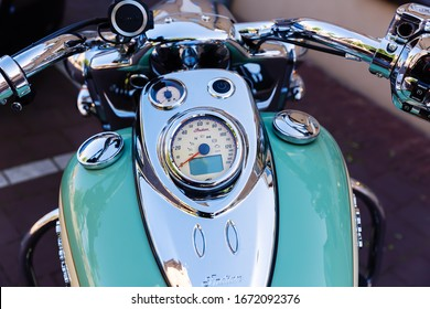 Domburg, Netherlands - June 08, 2019: detail of an Indian motorcycle. Indian was founded 1901 and the the first series motorcycle and temporarily the largest motorcycle manufacturer in the world