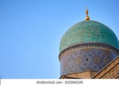 Dome of Barak Khan madrasah. Hast Imam Square (Hazrati Imam) is a religious center of Tashkent.