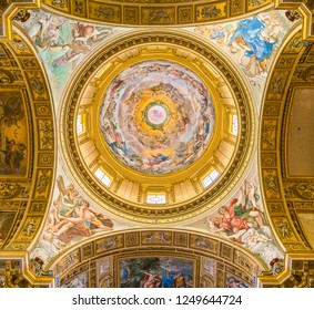 """Dome in the Basilica of Sant'Andrea della Valle, with the fresco """"The Assumption of Our Lady Into the Glories of Paradise"""" by Giovanni Lanfranco. Rome, Italy. October-15-2018"""