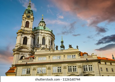 The dome and bell tower of The Church of Saint Nicholas, a Baroque church in the Lesser Town of Prague, Czech Republic